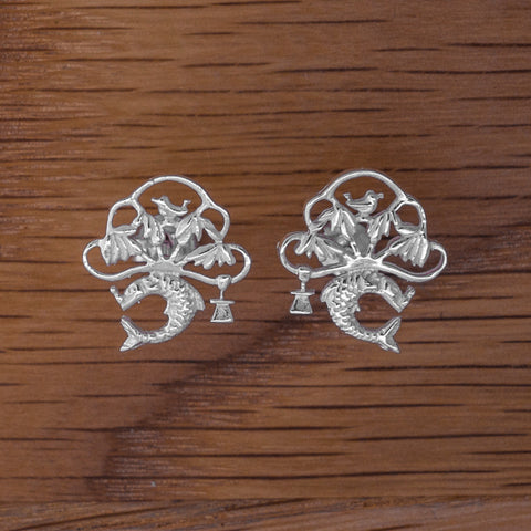 Stud Motif Earrings- Silver
