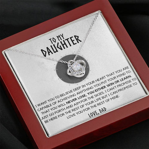 (Almost Gone) To my Daughter - Either WIN or Learn - Necklace from Dad [SAVE $40]