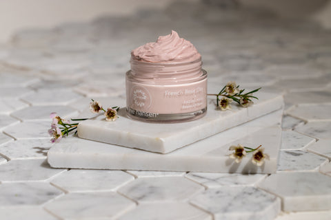 French Rose Clay mask benefits include skin purification, exfoliation, and detoxification.