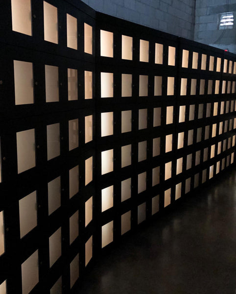 Frosted Glass Cigar Storage Lockers with LED lights
