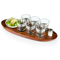 Picnic Time Cantinero Shot Glass Wooden Serving Tray