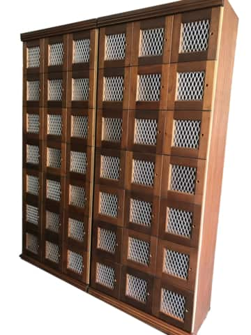 A large wire mesh commercial humidor