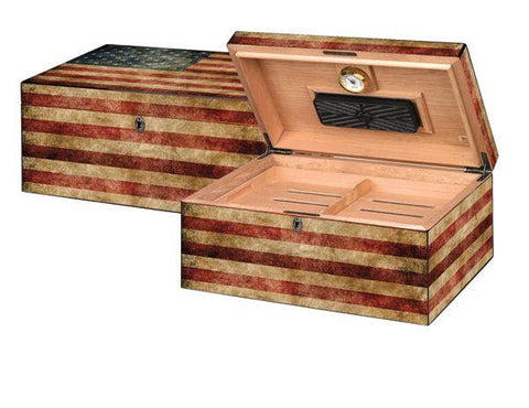 "Quality Importers Humidor Supreme ""Old Glory"" Weathered American Flag Exterior"