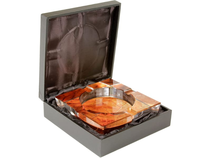Tobacco Leaf Print Crystal 4-Cigar Ashtray
