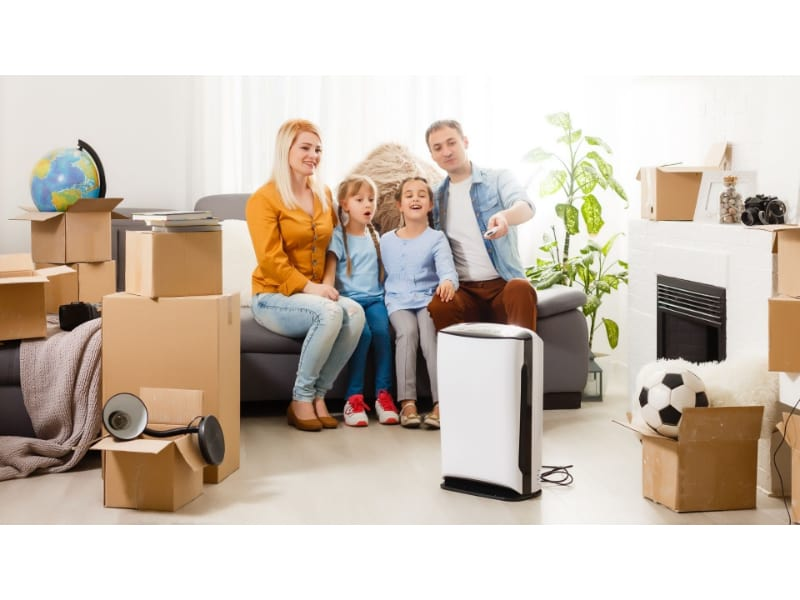 Family with air purifier