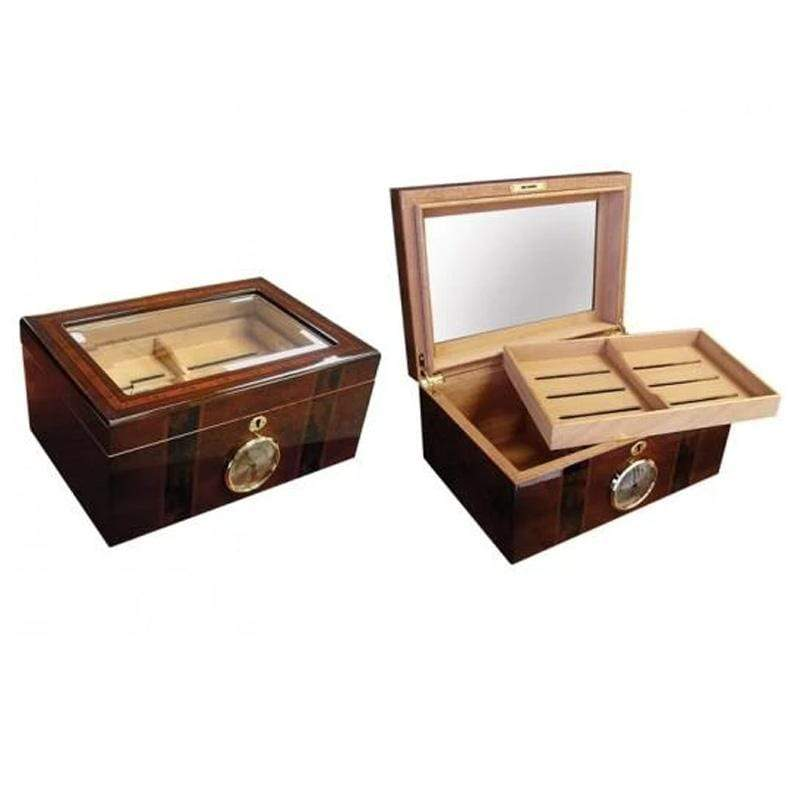 Ambassador Beveled Glass Top Cigar Humidor Gift Set 100 cigar