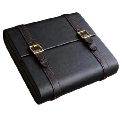 Augustus Black Leather Travel Cigar Humidor | 20 Cigars