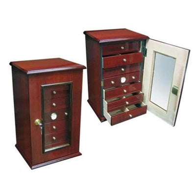 Charleston Gloss Cherry Cigar Humidor Gift Set | 150 Cigars open drawer