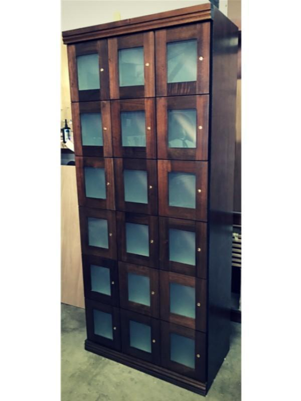 Elegant Bar Wine Lockers Frosted Glass Wine Lockers- 18 Lockers