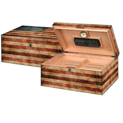 Humidor Sumpreme Old Glory Weathered ameran Flag Quality Importer Desktop Humidor False