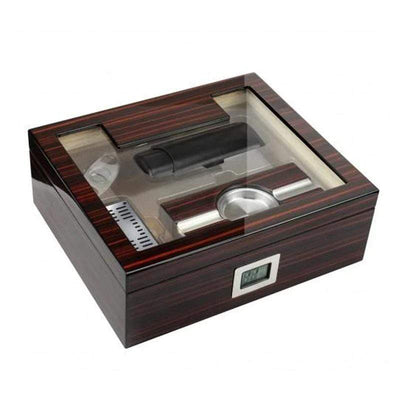 Kensington Cherry Ebony Lacquer Cigar Humidor Set  | 75 Cigars