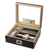 Kensington Cherry Ebony Lacquer Cigar Humidor Set  75 Cigars