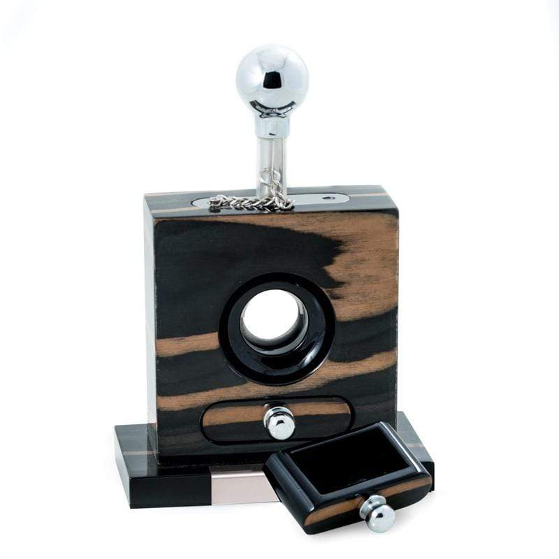 "Lacquered ""Ebony"" Wood & Stainless Steel Table Top Cigar Cutter"