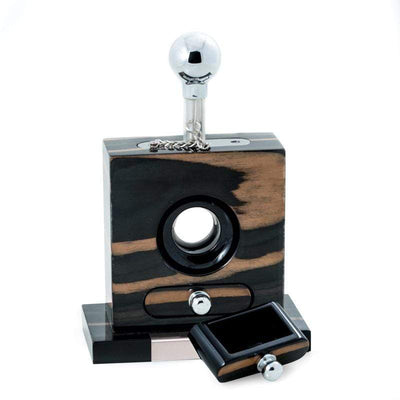 "Bey-Berk Cigar Cutter ""Default Title"" Lacquered ""Ebony"" Wood and Stainless Steel Table Top Cigar Cutter"
