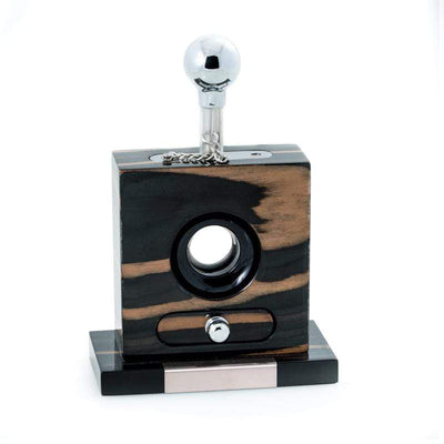 "Lacquered ""Ebony"" Wood and Stainless Steel Table Top Guillotine Cigar Cutter with Drawer for Cuttings"
