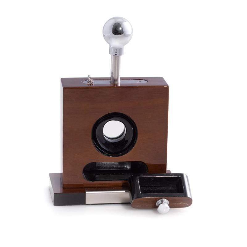 "Lacquered ""Walnut"" Wood and Stainless Steel Cigar Cutter"