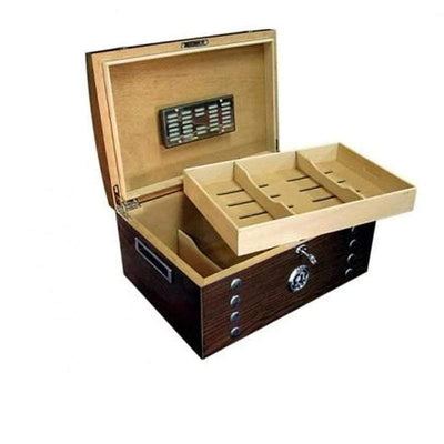 Montgomery Lacquer Studded Chest Cigar Humidor Gift Set | 150 Cigars opem