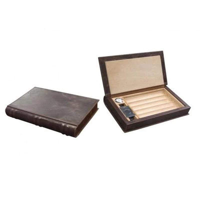 Prestige Travel Humidor Novelist Leather Book Travel Cigar Humidor Gift Set | 5-10 Cigars