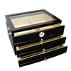 "Quality Importers Desktop Humidor Quality Importers ""The Palermo"" Humidor with Tempered Glass Top"