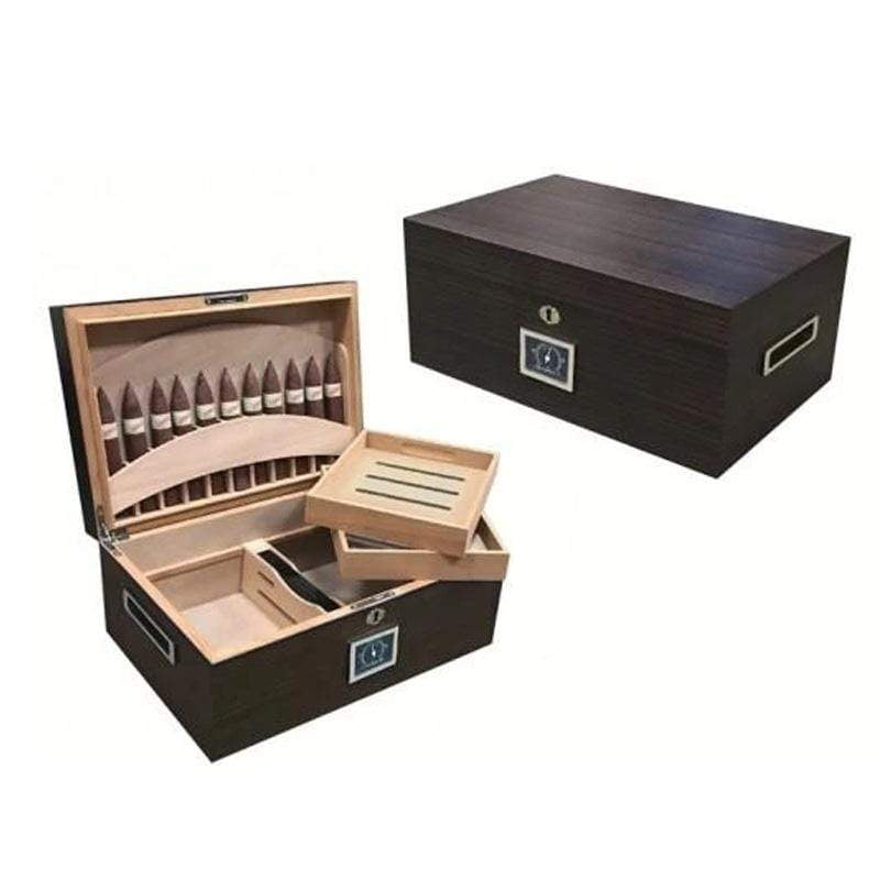 Rockefeller 130 Ct. Ebony Matte Humidor With Built in Cigar Display in Lid