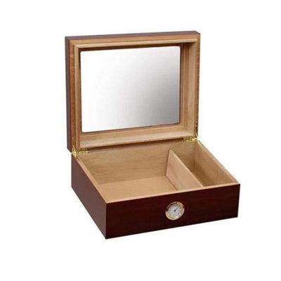 The Chalet Cherry Glasstop Finish Cigar Humidor l 25-50 Cigars open