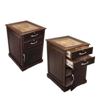 The Santiago End Table Humidor | Glass Top | 700 Cigars