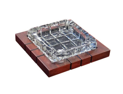 Prestige Ashtray Wood & Crystal Cross-Hatch Ashtray Item# ASH4CW