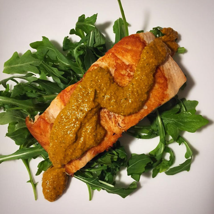 Primal Salmon (or Chicken) Roasted Red Pepper Pesto