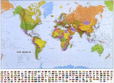"World Political Wall Map with Flags 27"" x 21"""