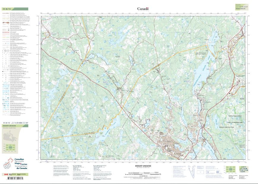 11D/13 Mount Uniacke  Topographic Map Nova Scotia