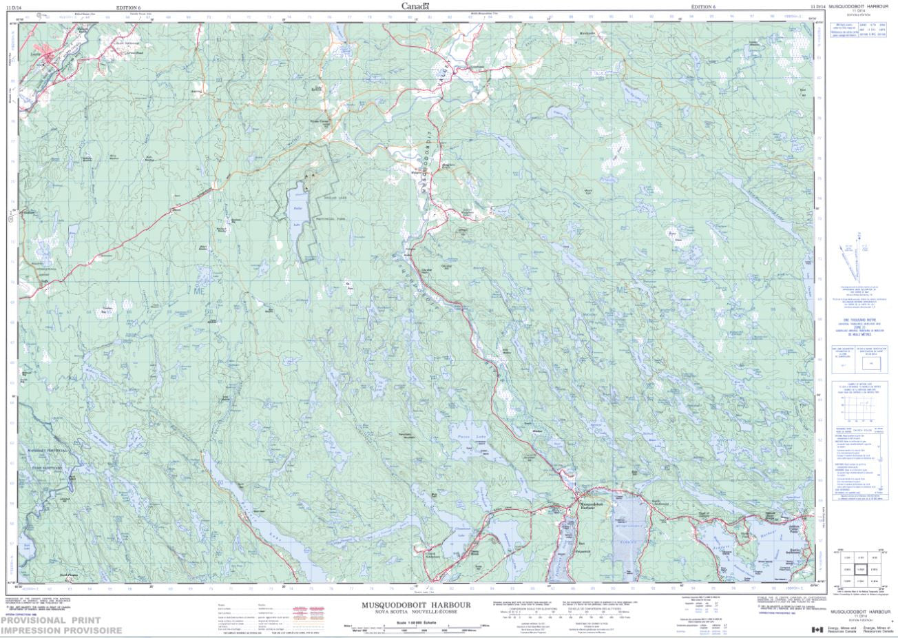 11D/14 Musquodoboit Harbour Topographic Map Nova Scotia