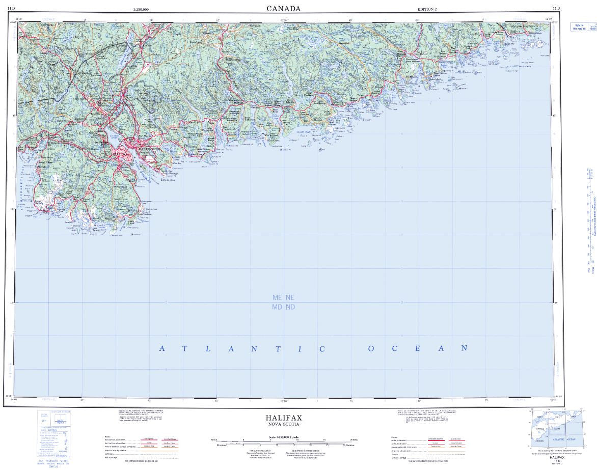 11D Halifax Topographic Map Nova Scotia