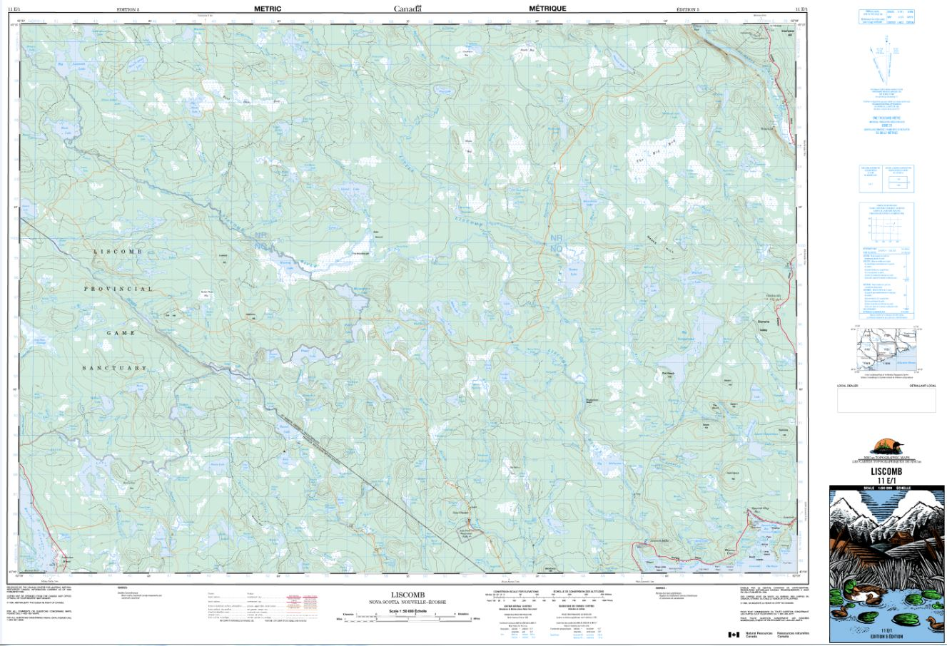 11E/01 Liscomb Topographic Map Nova Scotia