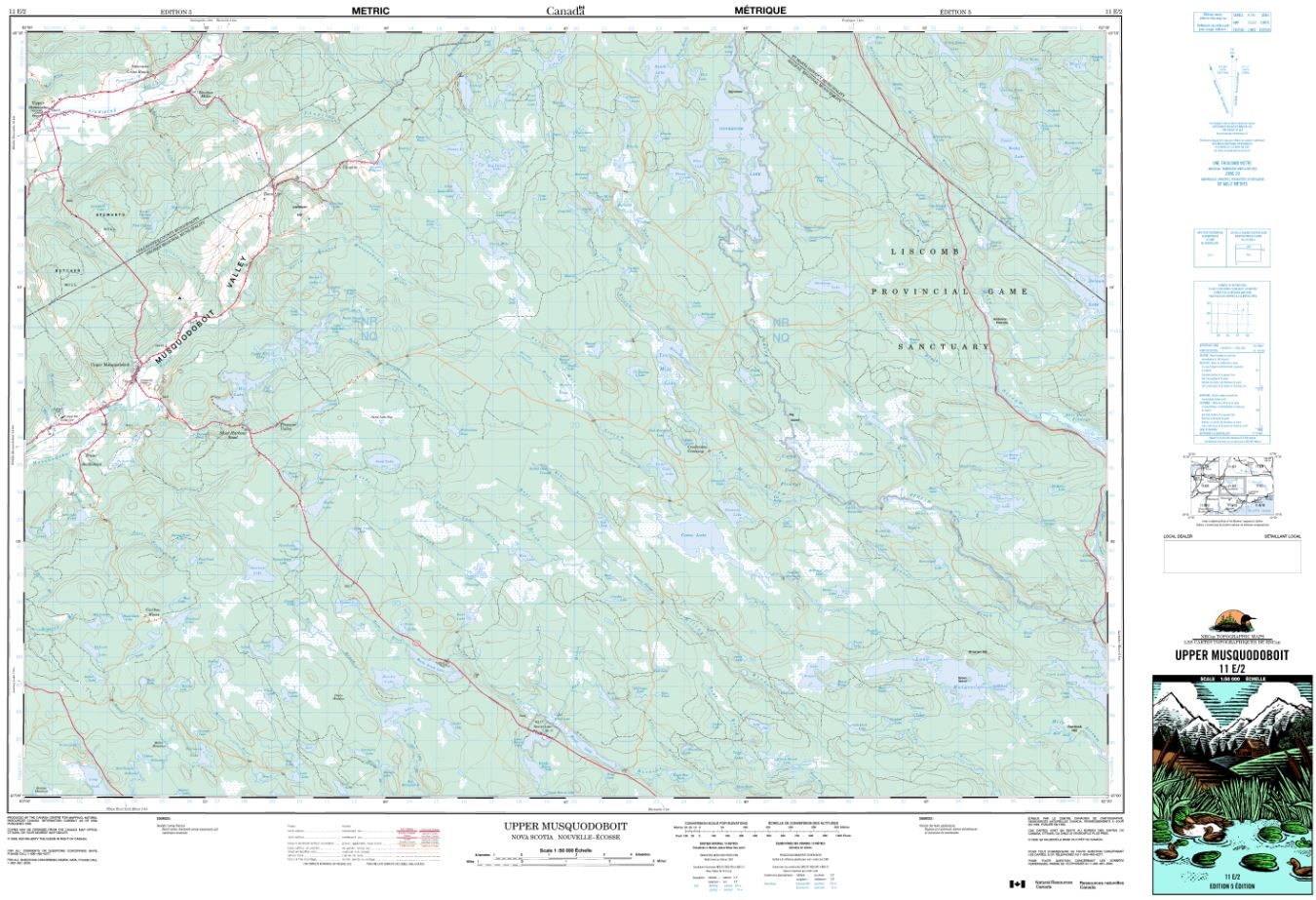 11E/02 Upper Musquodoboit Topographic Map Nova Scotia
