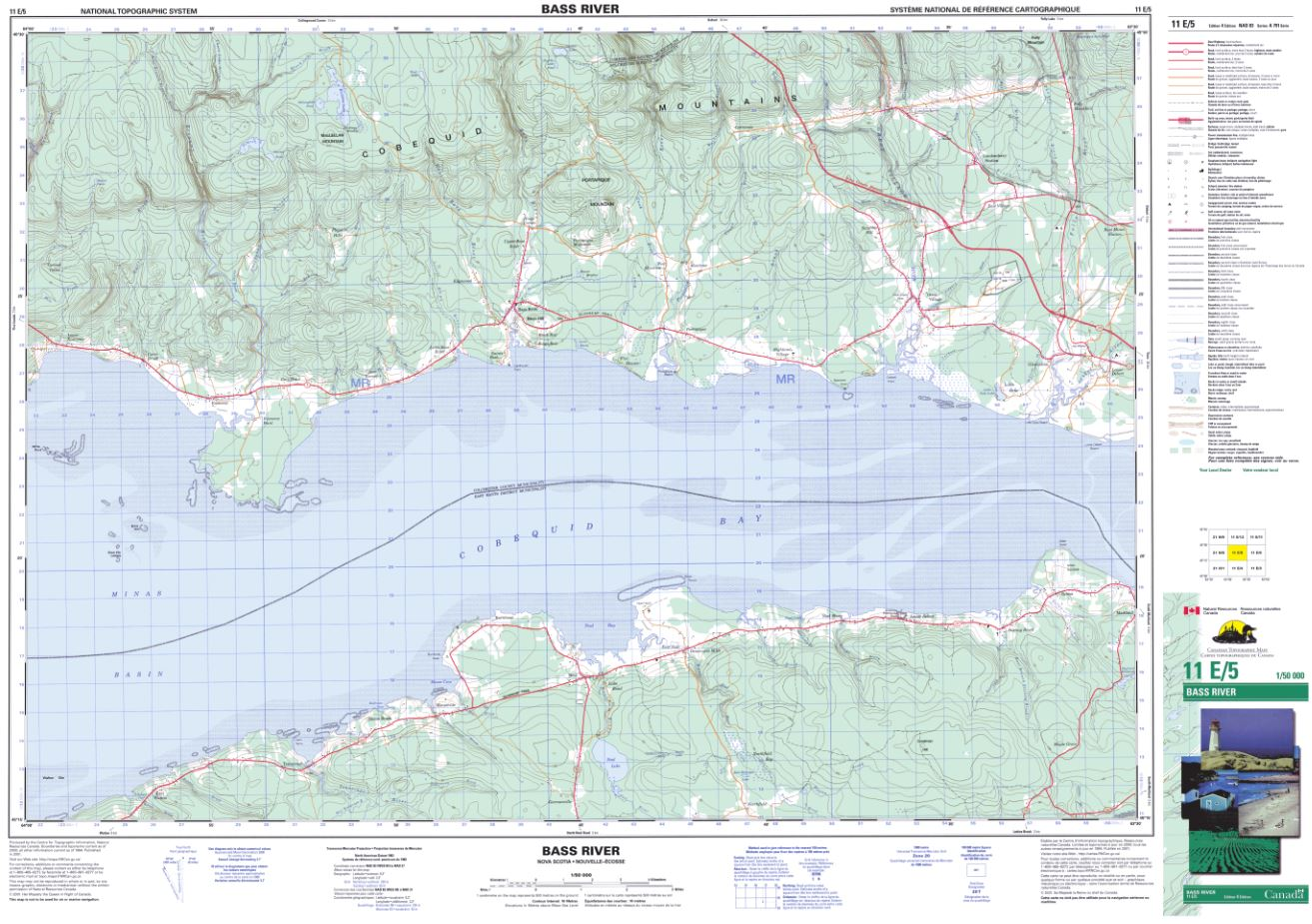 11E/05 Bass River Topographic Map Nova Scotia