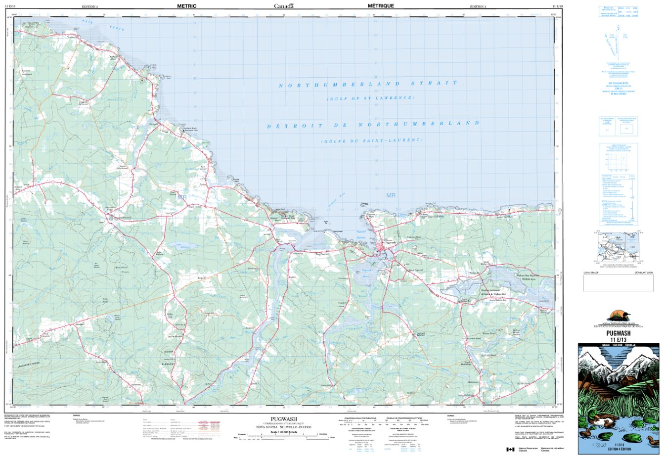 11E/13 Pugwash Topographic Map Nova Scotia Tyvek