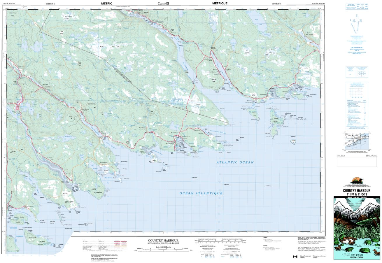 11F/04 Country Harbour Topographic Map Nova Scotia