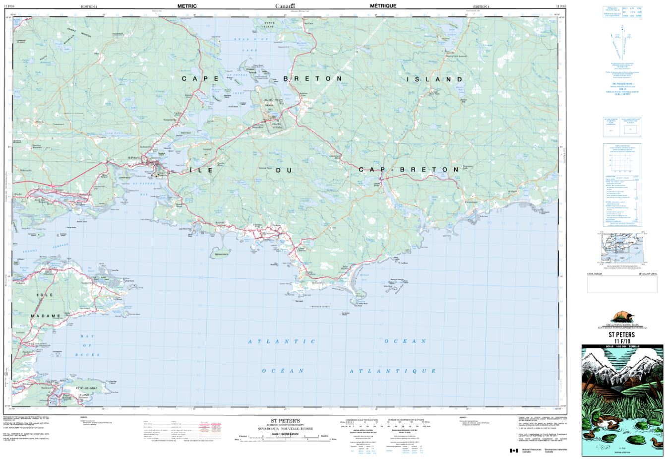 11F/10 St Peter's Topographic Map Nova Scotia