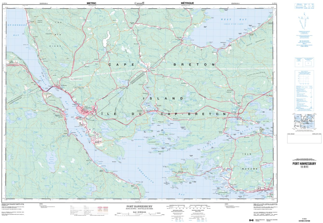 11F/11 Port Hawkesbury Topographic Map Nova Scotia Tyvek