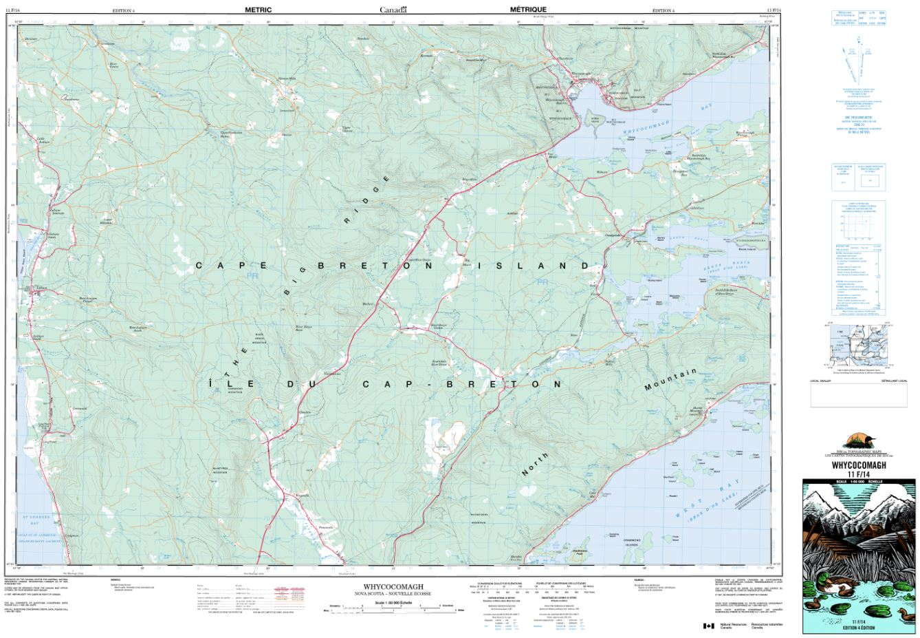11F/14 Whycocomagh Topographic Map Nova Scotia Tyvek
