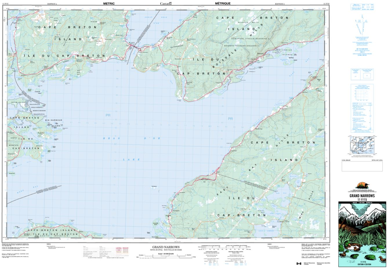 11F/15 Grand Narrows Topographic Map Nova Scotia Tyvek