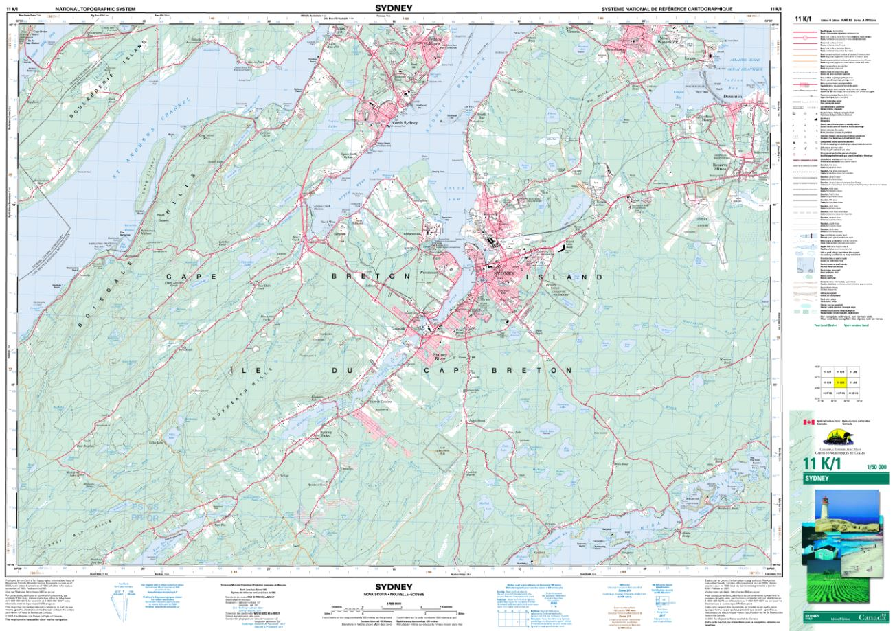 11K/01 Sydney Topographic Map Nova Scotia
