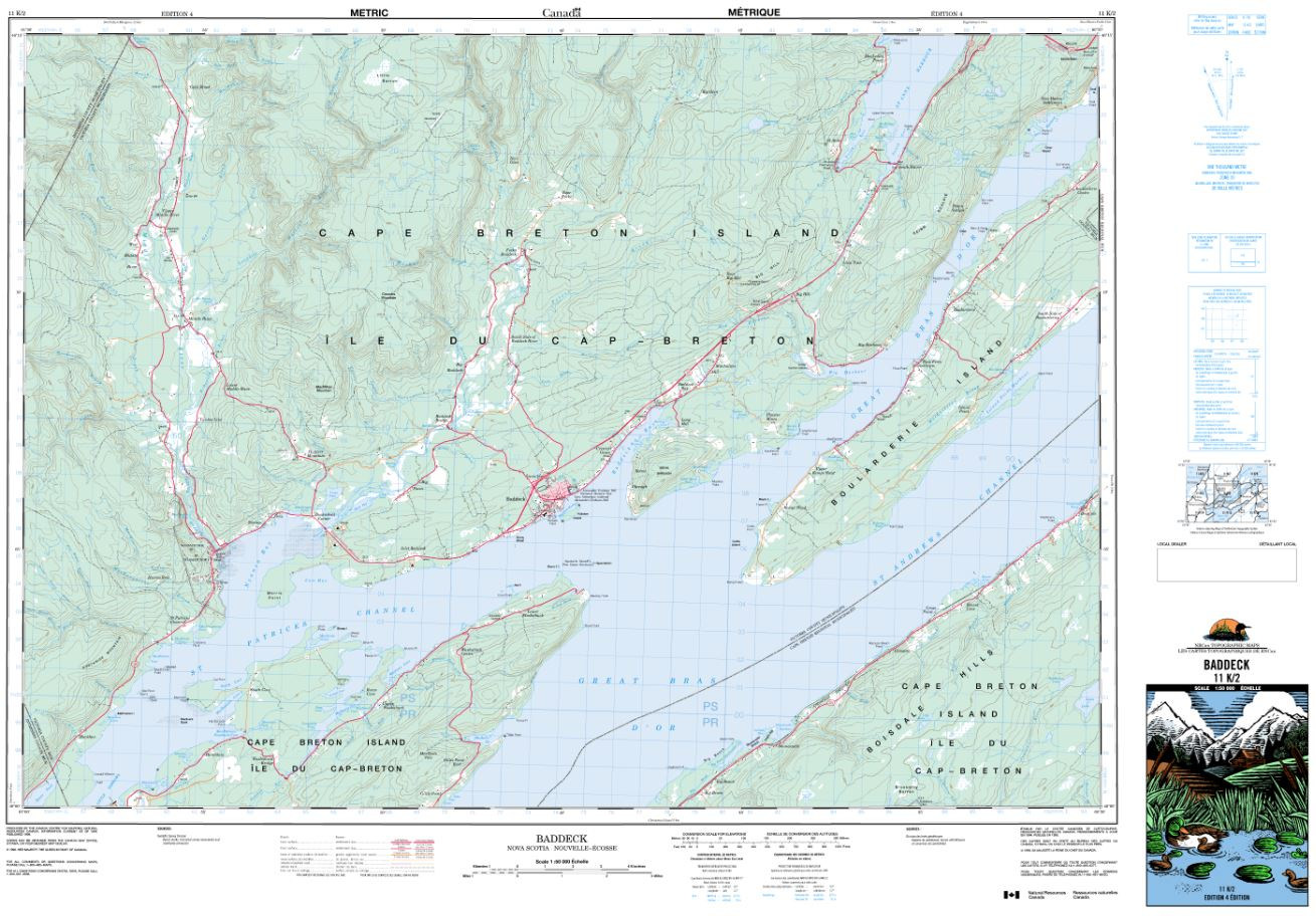 11K/02 Baddeck Topographic Map Nova Scotia