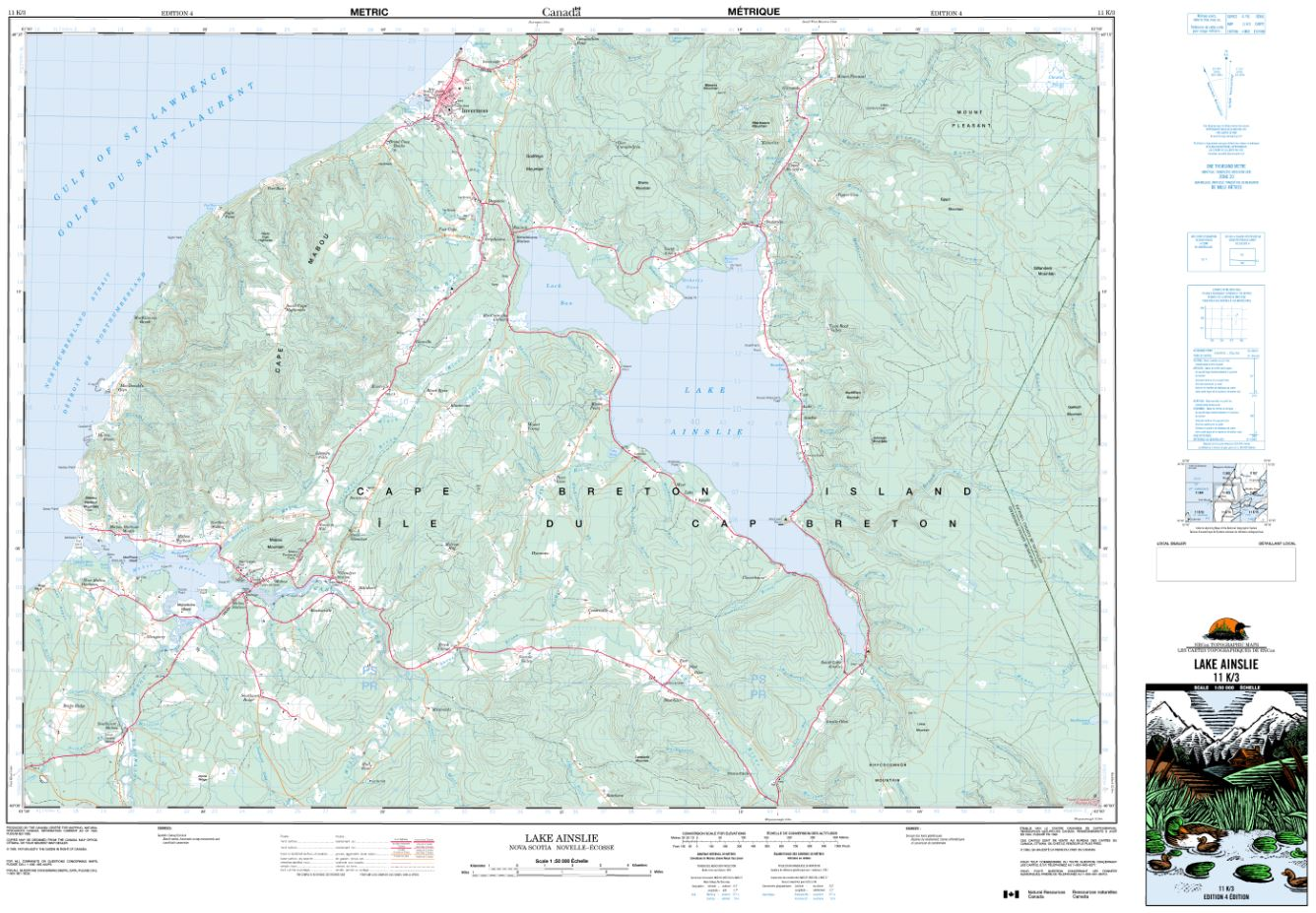 11K/03 Lake Ainslie Topographic Map Nova Scotia