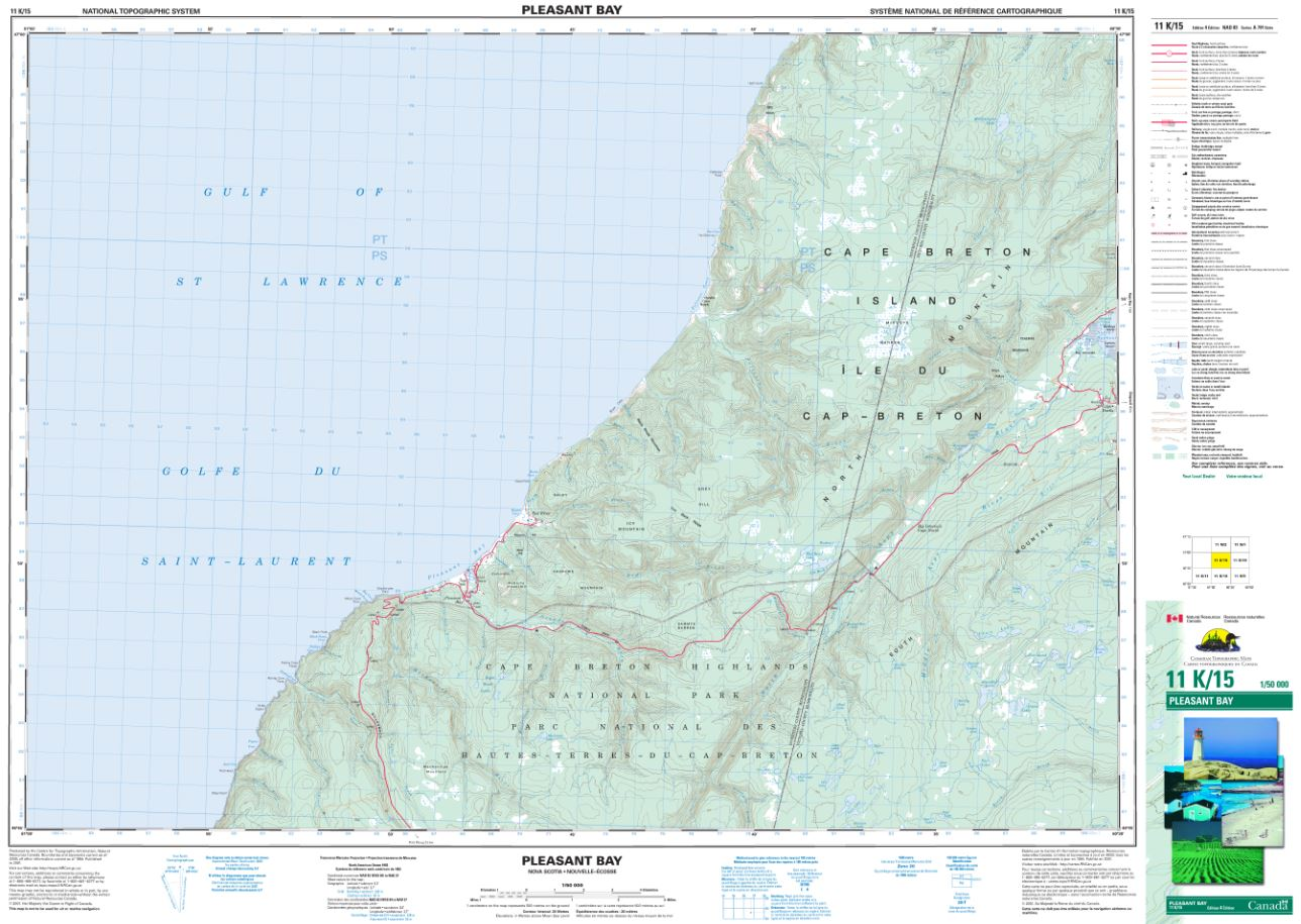 11K/15 Pleasant Bay Topographic Map Nova Scotia