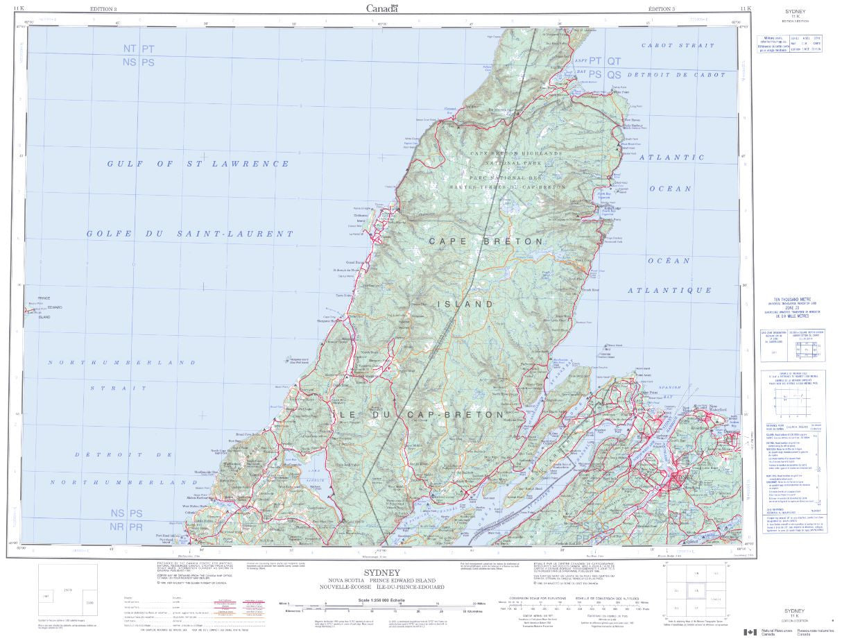 11K Sydney Topographic Map Nova Scotia