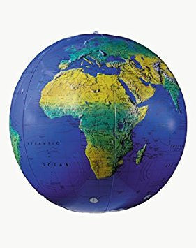 "Inflatable 16"" Dark Blue Topographical Globe"