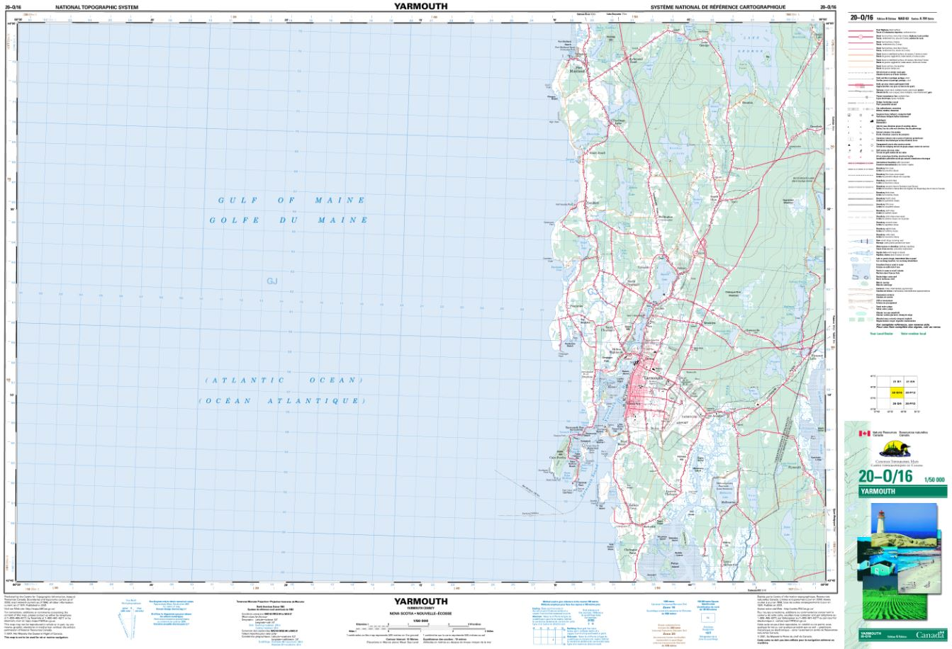 20O/16 Yarmouth Topographic Map Nova Scotia