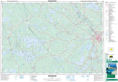 21A/07 Bridgewater Topographic Map Nova Scotia