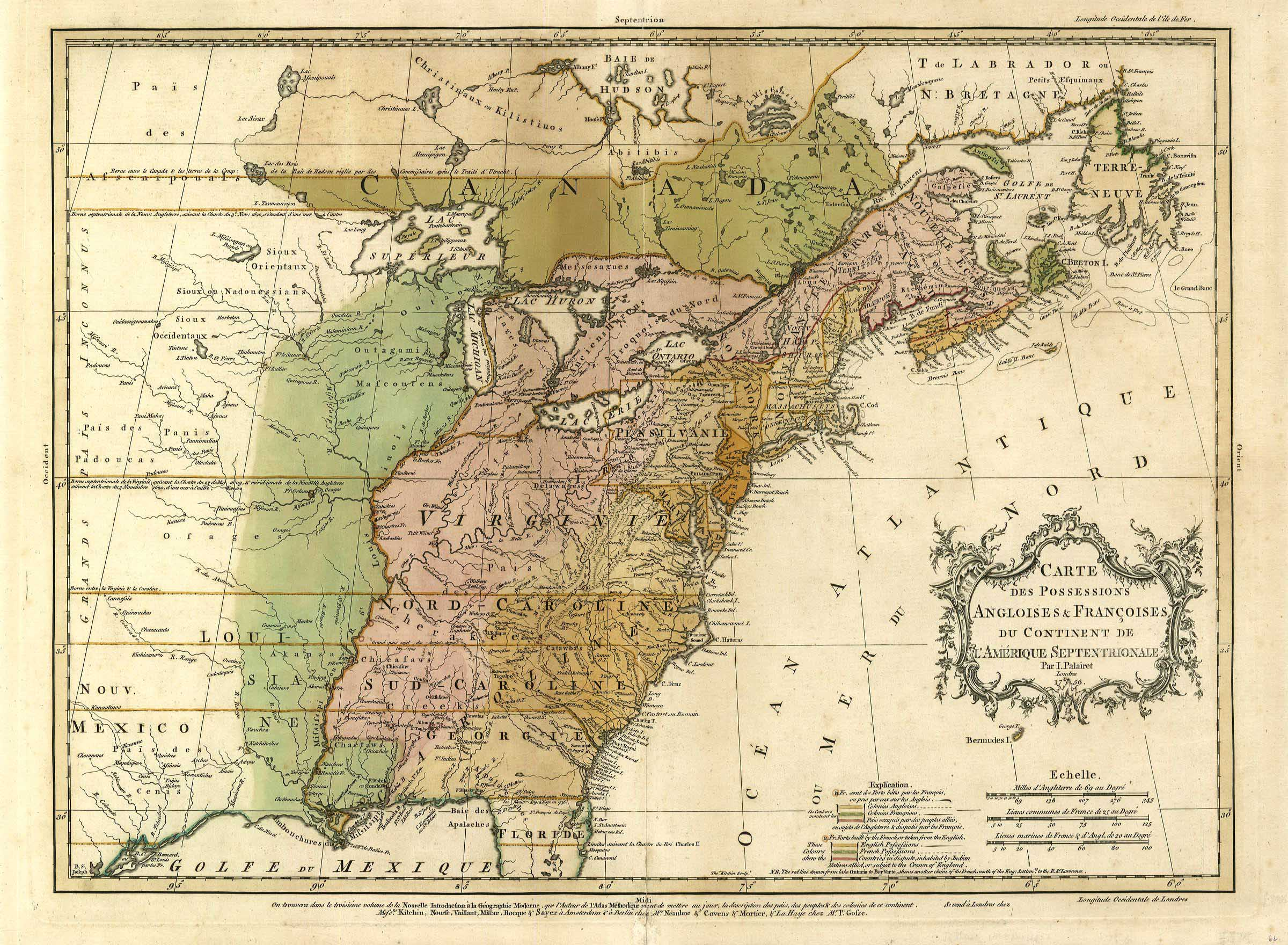 2493/1 Eastern Canada and Eastern US, 1756, Palairet | Maps ...